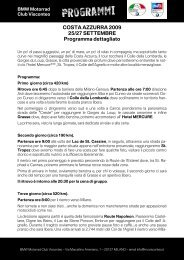 COSTA AZZURRA 2009 25/27 SETTEMBRE Programma dettagliato