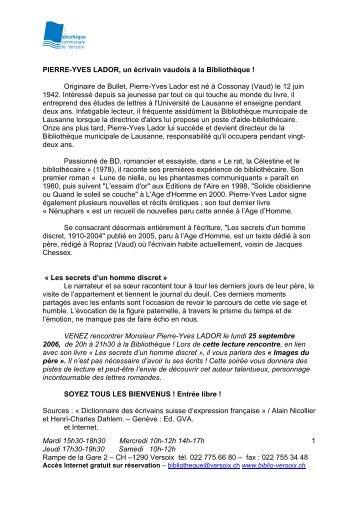 riginaire de Bullet, Pierre Yves Lador est n Cossonay le 12 ... - Versoix