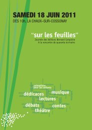 """sur les feuilles"" SAMEDI 18 JUIN 2011 - Bernard Campiche Editeur"