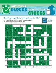 Emergency preparedness crossword puzzle for kids