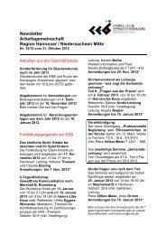 Newsletter Arbeitsgemeinschaft Region Hannover / Niedersachsen ...
