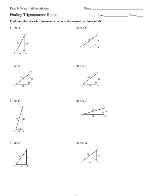 Finding Trigonometric Ratios Kuta