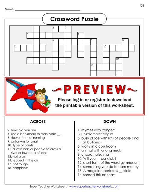 Crossword Puzzle - Super Teacher Worksheets
