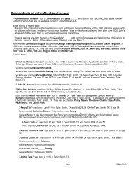 Descendants of John Abraham Henson - Index of