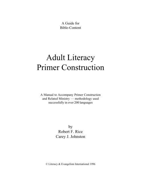 Adult Literacy Primer Construction - Literacy & Evangelism