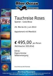 Tauchreise Roses Spanien - Costa Brava 25. Mai bis 01. Juni 2013 ...