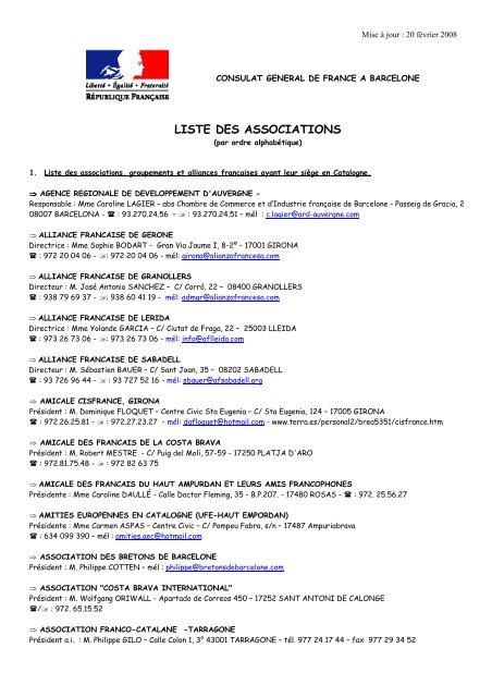 liste des associations - Consulat Général de France à Barcelone