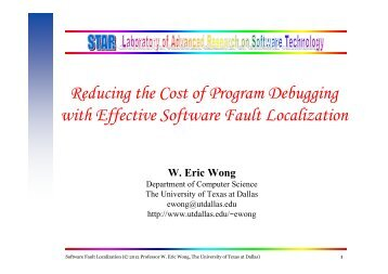 Reducing the Cost of Program Debugging with Effective Software ...