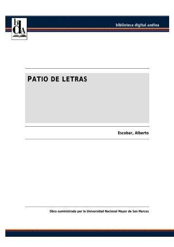 PATIO DE LETRAS - Comunidad Andina
