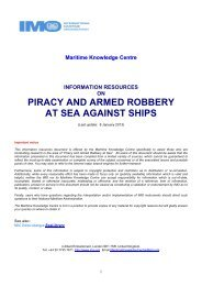 Information Resources on Piracy and Armed Robbery at - IMO