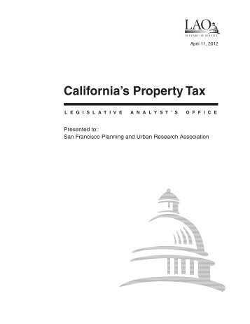 California's Property Tax - California Legislative Analyst's Office
