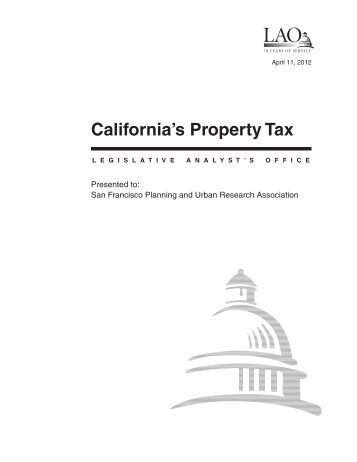 California's Property Tax - California Legislative Analyst's Office