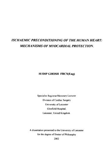 ischaemic preconditioning of the human heart. - Leicester Research ...