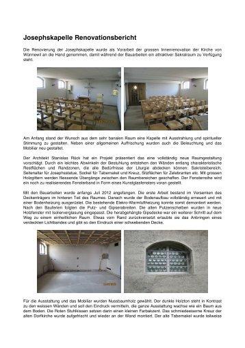 Josephskapelle Renovationsbericht - Pfarrei Wünnewil-Flamatt
