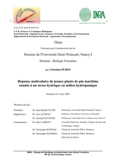 Docteur Inra Thèse I PoincaréNancy Henri L'université De YWD2IEH9