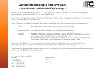 Zukunftstechnologie Photovoltaik: - EFC Energy Forex Capital