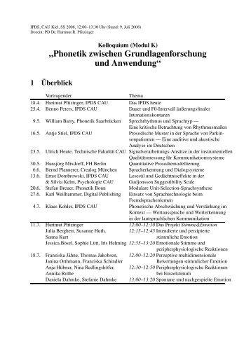 """""""Phonetik zwischen Grundlagenforschung und Anwendung"""" 1 ..."""