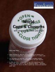 New study finds: World Caps & Closures - The Freedonia Group