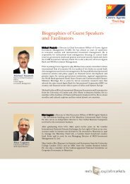 Biographies of Guest Speakers and Facilitators - MCB Capital Markets