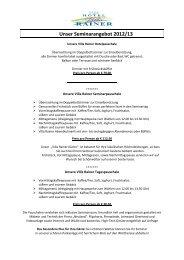 Unser Seminarangebot 2012/13 - HOTEL Villa RAINER