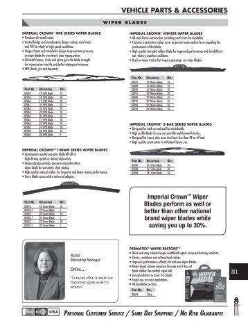 VEHICLE PARTS & ACCESSORIES Imperial Crown™ Wiper Blades ...