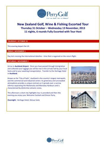 New Zealand Golf, Wine & Fishing Escorted Tour - PerryGolf