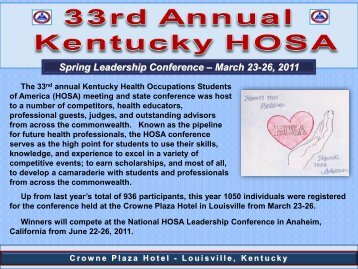 Spring Leadership Conference – March 23-26, 2011 - Kentucky Tech