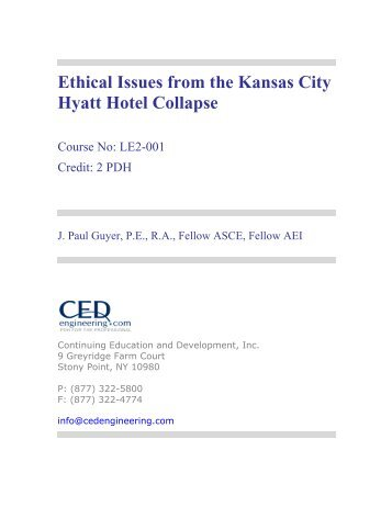 Ethical Issues from the Kansas City Hyatt Hotel ... - CED Engineering