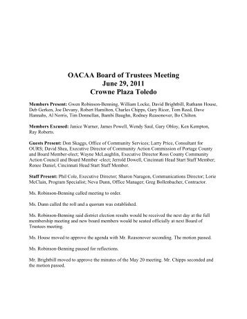 OACAA Board of Trustees Meeting June 29, 2011 Crowne Plaza ...