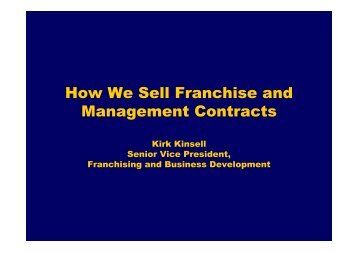 How we sell Franchise - InterContinental Hotels Group PLC