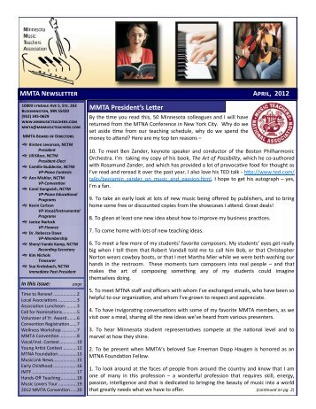 MMTA Newsletter April, 2012 - Minnesota Music Teachers Association