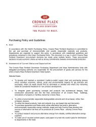Purchasing Policy and Guidelines - Crowne Plaza Portland