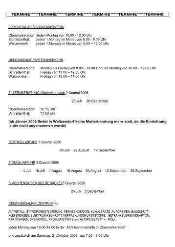 Termine 3. Quartal 2006 - Schrattenthal