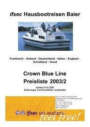 ifsec Hausbootreisen Baier Crown Blue Line Preisliste 2003/2