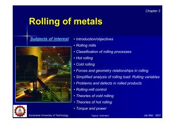 Chapter 3 - Rolling of metals