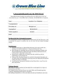 Lebensmittelbestell-Liste für DOUELLE - Crown Blue Line GmbH