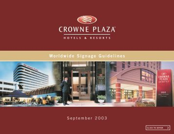 the Crowne Plaza Hotels & Resorts Worldwide Signage Guidelines