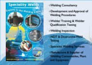 Development and Approval of Welding Procedures - Speciality Welds