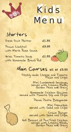 View our children's menu - The Crown Hotel