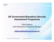 UK Government Biometrics Security Assessment Programme