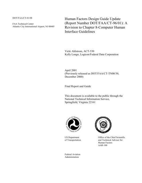 Human Factors Design Guide Update Report Number Dot Faa Ct
