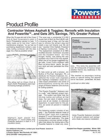 Contractor Vetoes Asphalt & Toggles - Powers Fasteners