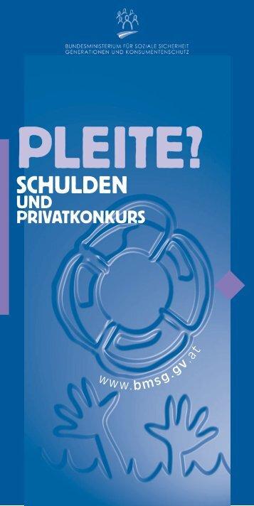 SCHULDEN UND PRIVATkonkurs - Schuldnerberatung