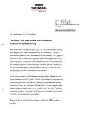 Jilin Midas Light Alloy bestellt Sexto-Aluminium - SMS Siemag AG