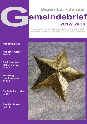 Gemeindebrief Dezember 2012 / Januar 2013 - Evangelischer ...