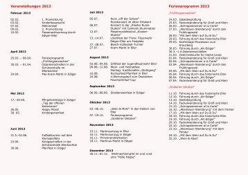Veranstaltungen 2013 Jahresüberblick - Ediger-Eller