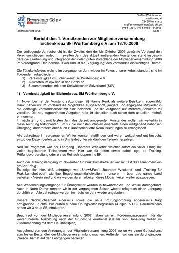Jahresbericht Vorstand (Steffen Weinbrenner)