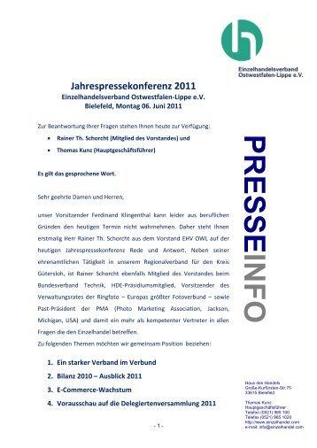 PRESS E INFO - Einzelhandelsverband Ostwestfalen-Lippe e.V.