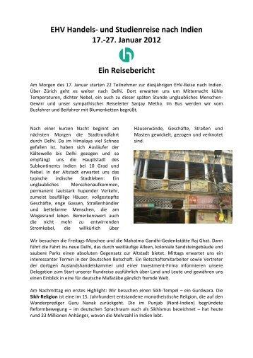 EHV Handels- und Studienreise nach Indien 17.-27. Januar 2012 ...