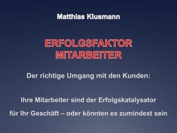 """Matthias Klusmann Mehr Erfolg durch den """"Faktor Mensch"""" oder ..."""